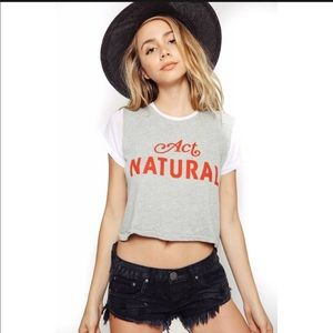 NWT Wildfox Act Natural Crop Top Middle Tee